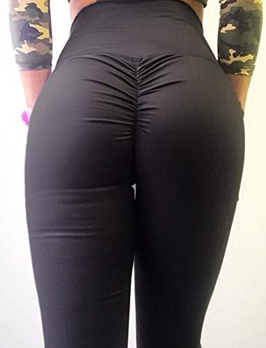 SEASUM Women Scrunch Butt Yoga Pants Leggings High Waist Waistband Workout Sport Fitness Gym Tights Push up L,Black,Large by SEASUM (Image #3)