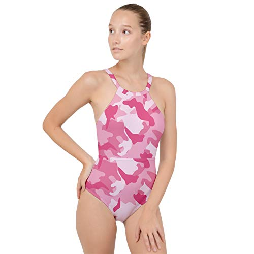 VunKo Pink Camouflage One Piece Swimsuit High Neck Backless Monokini Swimwear Bathing Suit for Women XXX Large