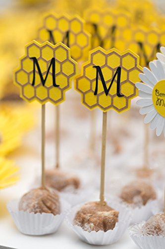 Bumble Bee Cupcake toppers Beehive, Personalized Monogram (set of 20) - Beehive Cup