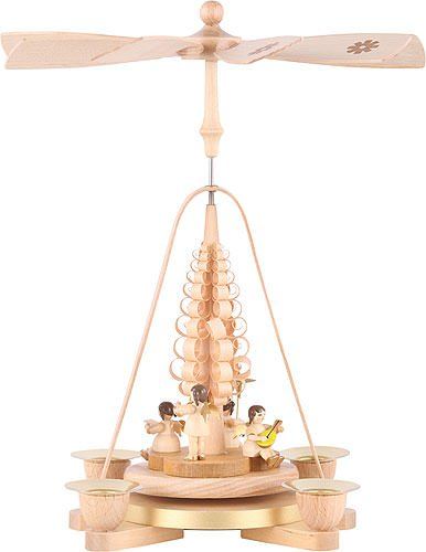 1-tier Pyramid German Christmas Angel natural wood - 11 inch - 28 cm - Richard Glässer