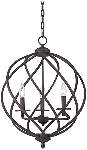 Katerina 18 1/2″ Wide Swirled Bronze Metal Foyer Chandelier For Sale