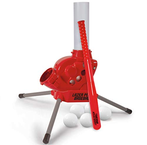 Diggin Lazer Pitch Baseball Pitching Machine. Kids Batting Practice Throwing Trainer