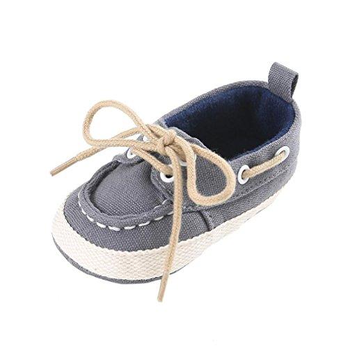 Tefamore zapatos bebes sneaker de primeros pasos de antideslizante de sole suave de moda invierno de calentar de Lona Gris