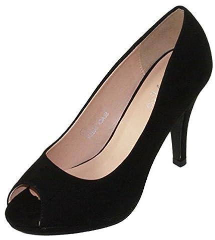 Bella Marie Women's Classic Peep Toe Platform Stiletto High Heel Dress Pump (8 B(M) US, Black) - Stiletto Heel Classic Pumps