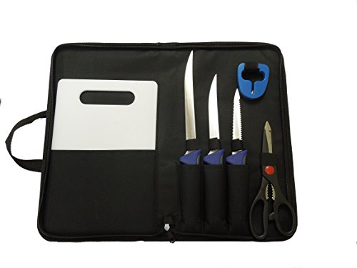 STAINLESS FILLET KNIFES (3), RIGGING SCISSORS, CUTTING BOARD, SHARPENER, AND CARRYING CASE, GREAT GIFT !