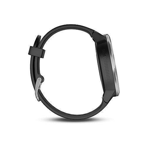 Garmin Vivoactive 3 - Montre Connectée de Sport avec GPS et Cardio Poignet - Argent avec Bracelet Blanc Gris avec bracelet Noir