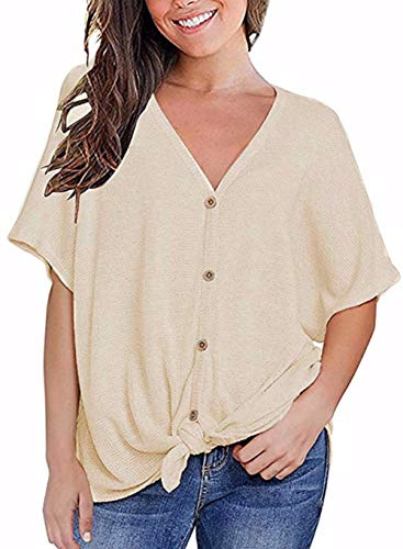 Fronage Womens Loose Blouse Short Sleeve V Neck Button Down T Shirts Tie Front Knot Casual Tops (XL, 10 Light Apricot)