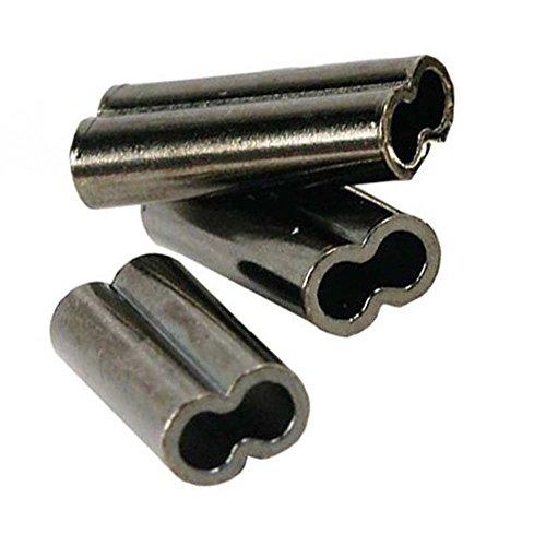 Luengo 100pcs/Lot 100% Brass High Strength Double Barrel Crimp Sleeves Copper Tube Finish Connector Kit (0.8mm Inner Diameter)