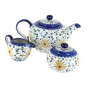 Blue Rose Polish Pottery Yellow Daisy 3 PC Tea Set