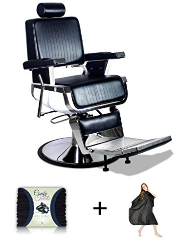 'Truman' Vintage Reclining Hair Salon Barber Chair with Microfiber Towel and Salon Cape
