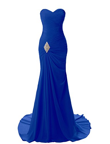 theart Mermaid Long Evening Dress Formal Prom Gowns (Sweep Train Natural)