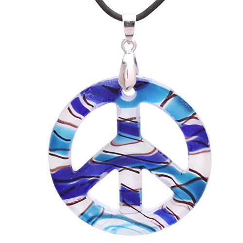 (Bleek2Sheek Murano-Inspired Glass Nautical Themed Peace Sign Pendant)