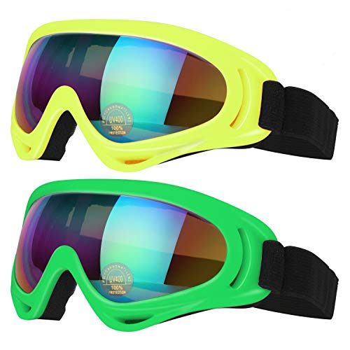 (COOLOO Ski Goggles, Pack of 2, Skate Glasses for Kids, Boys & Girls, Men & Women, Youth, with UV 400 Protection, Wind Resistance, Anti-Glare Lenses (Yellow/Green))
