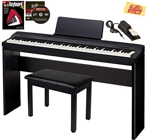 Casio Privia PX-160 Digital Piano – Black Bundle with CS-67 Stand, Deluxe Sustain Pedal, Furniture Bench, Instructional Book, Online Lessons, Austin Bazaar Instructional DVD, and Polishing Cloth