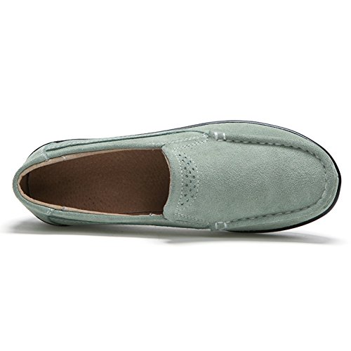 HKR Frauen Loafers Slip-on-Plattform Turnschuhe Komfort Wildleder Mokassins Schuhe fahren Grün
