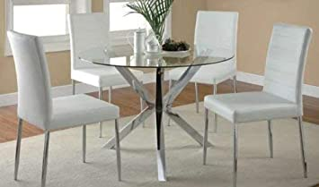 Vance Dining Chairs with Vinyl Seat Cushion White and Chrome Set of 4