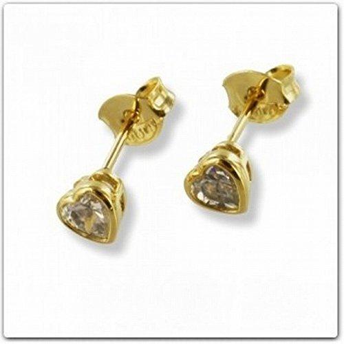 ASS or double boucles d'oreilles boucles d'oreilles coeur 5mm 3Micron or 18K, plaqué or, de Platt