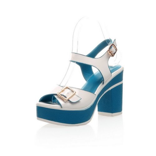 Assorted 5 Heel Heels Colors Blue with Open M 4 Toe Platform US Chunky High Sandals PU Womens Buckle B WeenFashion qzf0AA