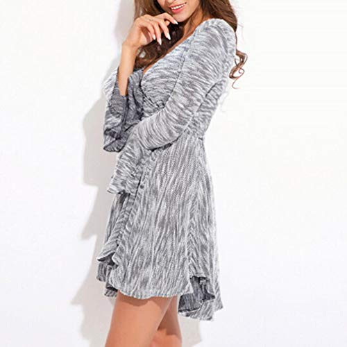 Amazon.com: Sunhusing Womens Autumn Long Sleeve Knitted Waist Belt Irregular Flowy Pleated Hem Dress: Clothing