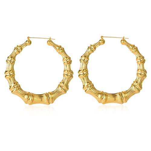 Gold Plated Bamboo Hoop Earring Hollow Casting Hip-Hop Statement Jewelry for Women Dia 100mm]()