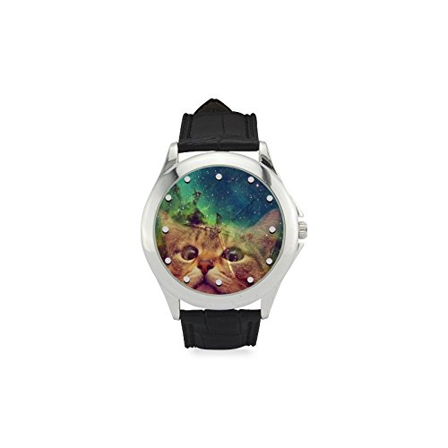 birthday-christmas-day-gift-cute-galaxy-cat-space-cat-womens-classic-leather-strap-watch