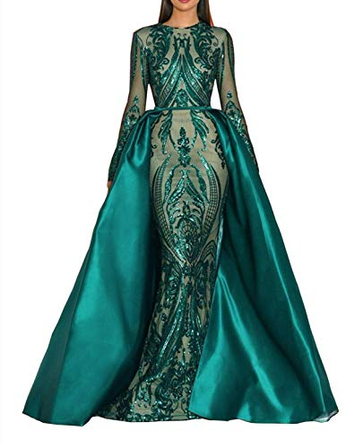 Aries Tuttle Green/Burgundy/Navy Blue Sequined Satin Mermaid Prom Evening Party Dress Celebrity Pageant Gown Detachable Train ()