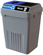 CleanRiver Flex E bin Indoor and Outdoor Sturdy 2-in-1 Waste and Recycling Bin - Commercial Waste Recycling Compost Trash - Heavy Organic Waste Collected | FX50A-GY2-R-BE-W-BK, 50 Gallons, Grey