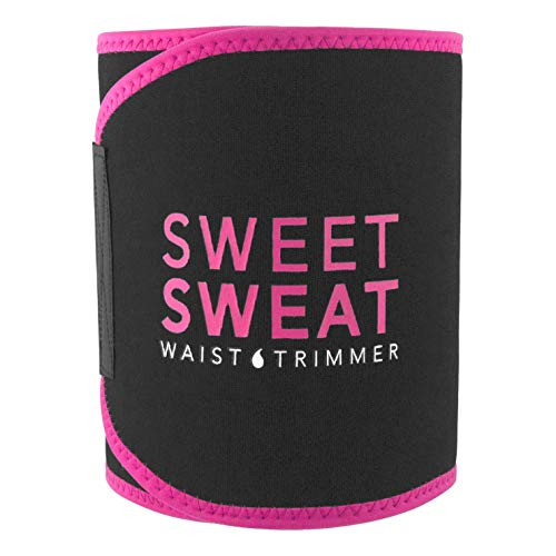 Sports Research Sweet Sweat Premium Waist Trimmer (Pink Logo) for Men & Women ~ Includes Free Sample of Sweet Sweat Gel! (SM: 8
