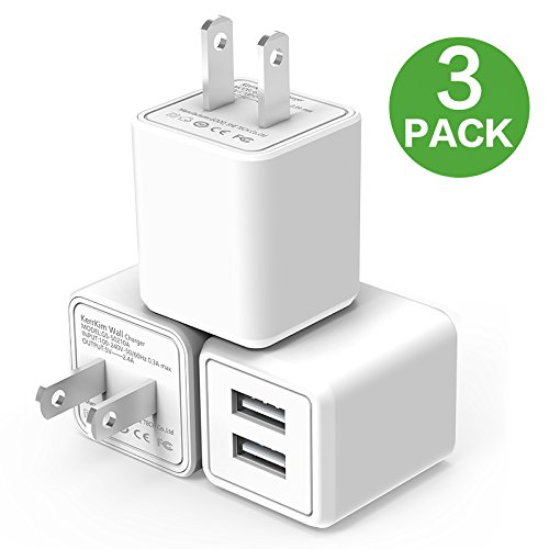 USB Wall Charger,Dual Port Rapid Speed Compact Universal USB Power Adapter Wall Charger Compatible with Apple iPhone X/8/8 Plus/7/7 Plus/Samsung Galaxy/Nexus/LG/HTC & more White (3-PACK) by KerrKim