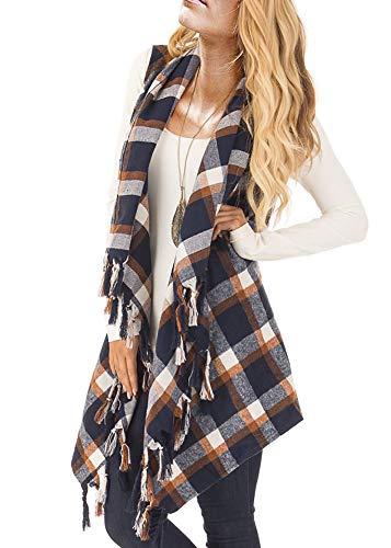 Plaid Sweater Vest (Women's Open Drape Front Plaid Sleeveless Cardigan Waterfall Shawl Collar Fringe Vest)