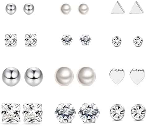 LOYALLOOK 12 Pairs Stainless Steel Earrings Stud Earrings Set for Womens Girls Round Clear CZ Stud
