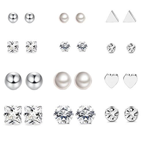 LOYALLOOK 12 Pairs Stainless Steel Earrings Stud Earrings Set for Womens Girls Clear CZ Stud by LOYALLOOK
