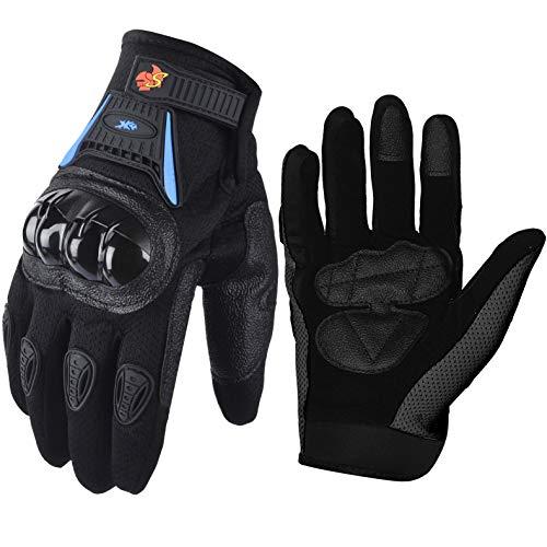 Street Bike Full Finger Motorcycle Gloves 09 (Med, black/blue)