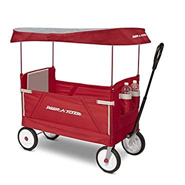 Radio Flyer 3-In-1 EZ Fold Wagon with Canopy Ride On, Red