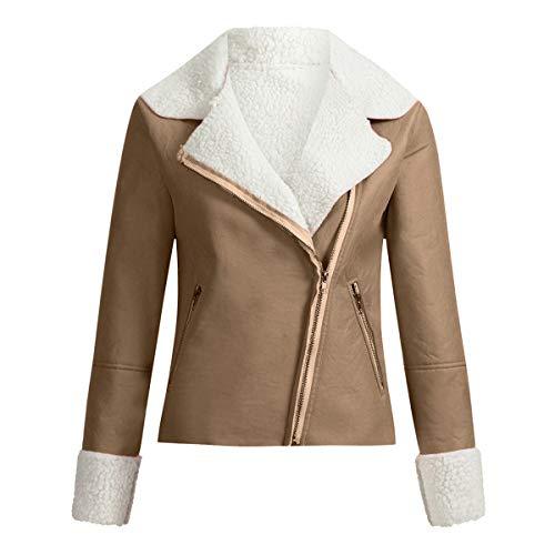 [해외]Thenxin Women`s Casual Faux Suede Short Jacket Warm Fleece Lined Moto Biker Jacket Coat / Thenxin Women`s Casual Faux Suede Short Jacket Warm Fleece Lined Moto Biker Jacket Coat(Khaki,L)