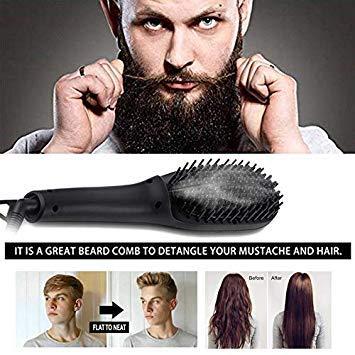 (Men Beard Straightener Brush, Enhanced Ionic Steam Hair Straightener Brush for Men & Women, Anion Spray Hair Straightening Comb with Ceramic Faster Heating Plate, Anti- Scald/Temperature Lock/Auto Shu)
