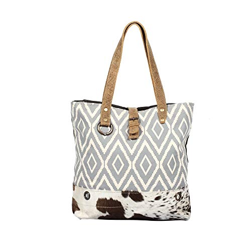 Myra Bag Vacation Upcycled Canvas & Cowhide Tote Bag S-1347