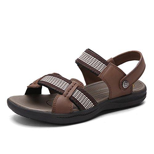 DEKESEN Leather Mens Weaven Genuine Sandals Sport Brown f8wOf