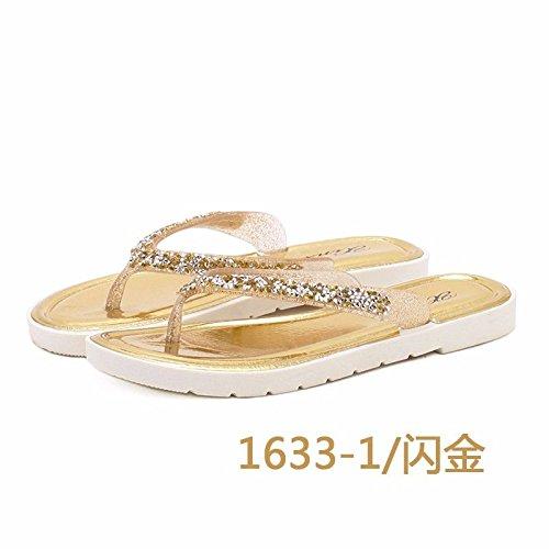 British fashion cold Korean XZ flip wear version women's ladies shoes foot of flops Golden Summer slippers LIUXINDA drag fashion flat slippers 0n5vxwqaaC