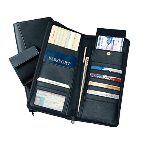ROYCE Executive Zippered Travel Document Passport Case and Credit Card Wallet, Black