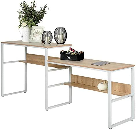 HOMCOM Industrial Style Double Sided Computer Desk