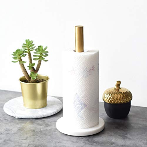 Standing Paper Towel Holder with Marble Base Quick One Handed Tear for Kitchen, Livingroom, Bathroom, Countertop (White) ()