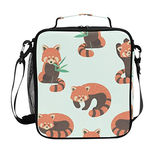 Cute Red Panda Lunch Box Tote Reusable Insulated School Cooler Bag for Women Kids