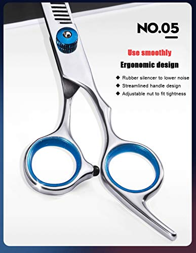 Hair Cutting Scissors Barber Shears Set Professional Razor Straight Edge Thinning Texturizing Hair 6.0'' Stainless Steel Scissors Shears Kit Silver by W.ent (Image #5)