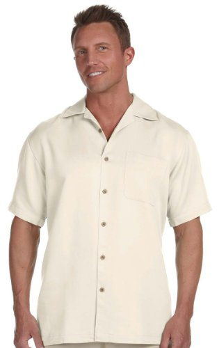Harriton Men's Bahama Cord Camp Shirt - X-Large - Creme (Shirt Camp Rayon)