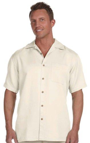 Harriton Men's Bahama Cord Camp Shirt - X-Large - Creme (Rayon Shirt Camp)