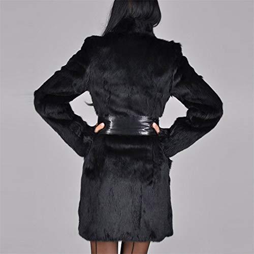 Col En Décontracté M Avec Longues Noir Coupe Pour Manches Et Femme vent Fourrure Femme Chauds Style Fausse Vêtements De wwqrfdg