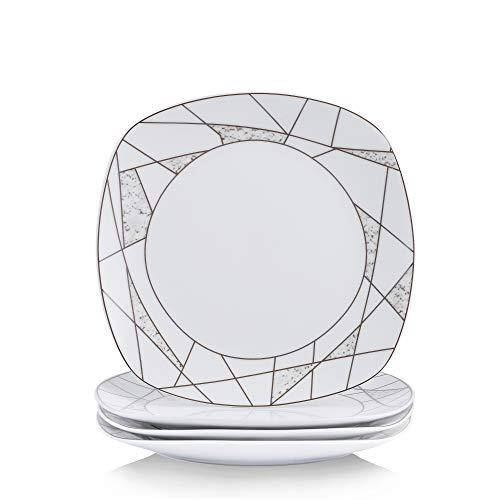 VEWEET 4-Piece Porcelain Dessert Plate Set, Durable Ivory White Bread 7-1/2 Inch Salad Plates SERENA Series by VEWEET