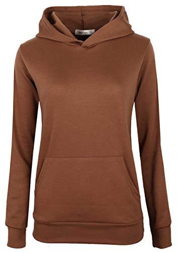 MAJECLO Women's Casual Full-Zip Hooded Lightweight Long Sleeve Sweatshirt(XLarge, WHDT-Brown) ()