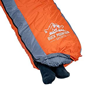 Buck Mountain Sports 10 Degree F Mummy Sleeping Bag for Camping, Tall Sleeping Bag with Hood for Cold Weather, Camp Gear for Hiking and Backpacking (Orange)